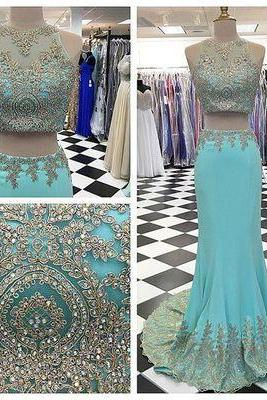2017 New Arrival Long Prom Dress Sleeveless 2 pieces Evening Gowns lace Formal Dress