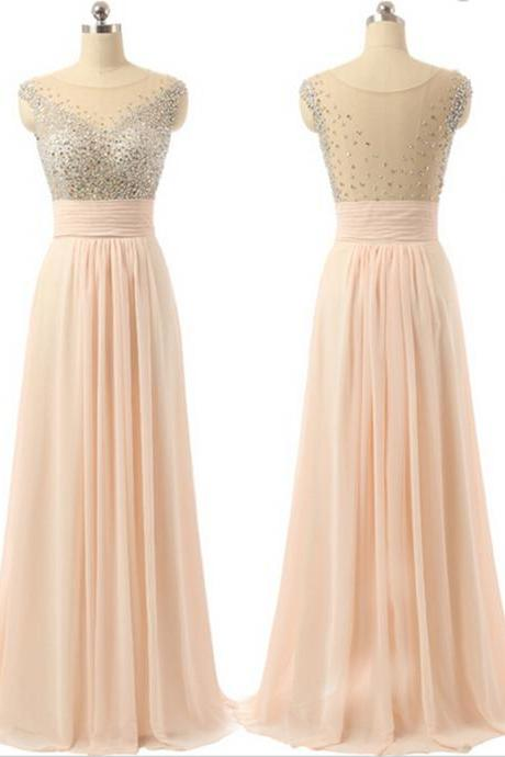 2017 New Arrival Blush pink see-through high quality long beading A-line prom dresses, evening dress, bridesmaid dress