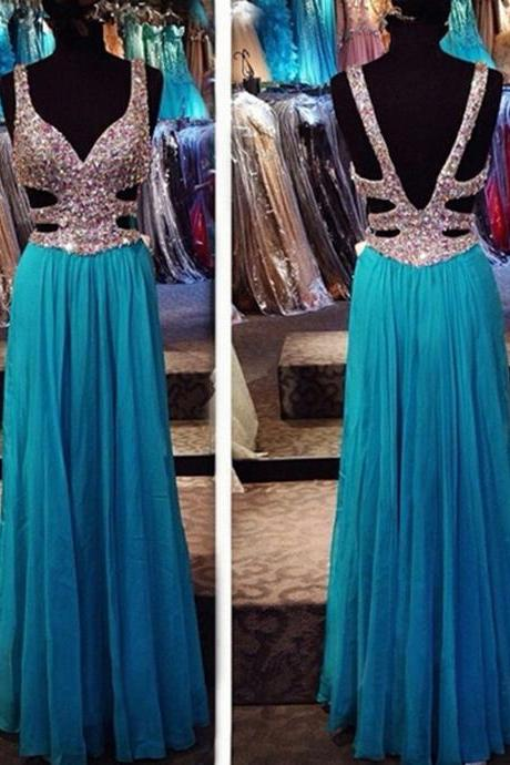 Sweetheart blue chiffon hollow out long evening dress, A-line floor length new formal dress, prom gown