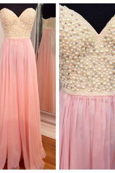 Sweetheart pink chiffon A-line long prom dresses with pearls, handmade floor length evening dress