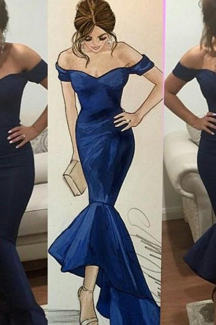 Simple Prom Dress,New Fashion Women Party Dress,Sexy Prom Dress,Navy Blue Prom Dress,Formal Dress, Navy Prom Dress,Mermaid Prom Party Dress