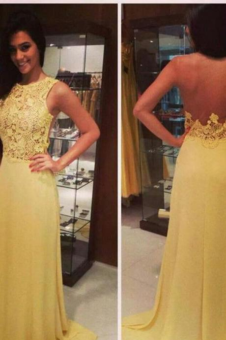 Prom Dress,Sexy Prom Dress, Yellow Lace Prom Dresses,Vintage Yellow Evening,Prom Dress With Lace Appliques