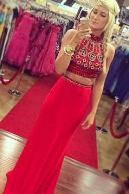 New Arrival Women Dress,fashion Prom Dresses, red Prom Dress,2 pieces Prom Dresses,2 piece Prom Dress
