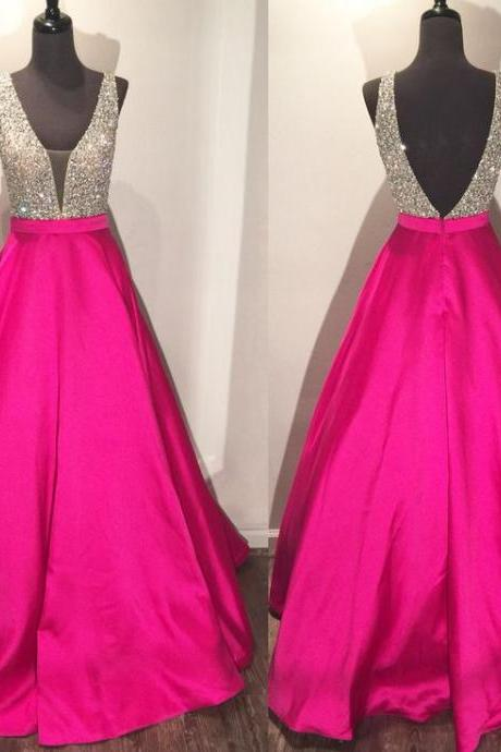 Pink Sleeveless Plunging V Beaded A-line Long Prom Dress, Evening Dress Featuring V Back