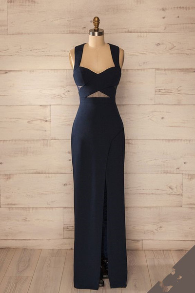 Navy Blue Long Evening Dress Featuring Sweetheart Bodice with Halter Strap and Cutout Detailing