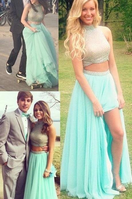Two Pieces Prom Dress,Two Piece Evening Dress,mint green Prom Gown,2 pieces Party Dress,Long Prom Dress