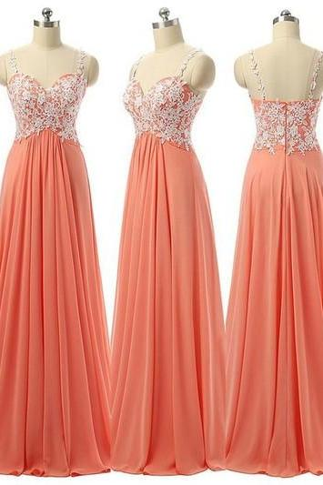 Lace Appliques Chiffon Sweetheart Shoulder Straps Floor Length A-Line Prom Dress