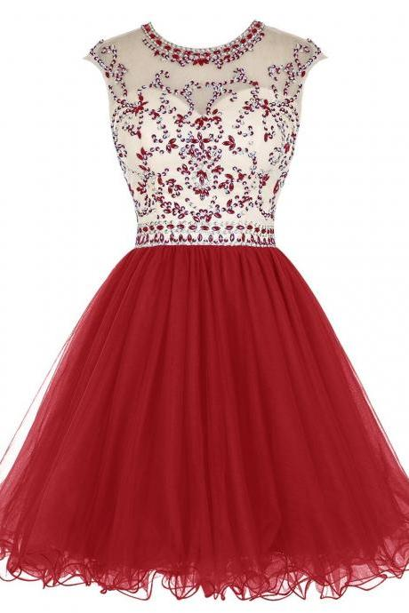Red Jewel Neckline Cap Sleeves Homecoming Dress with Beaded Bodice.