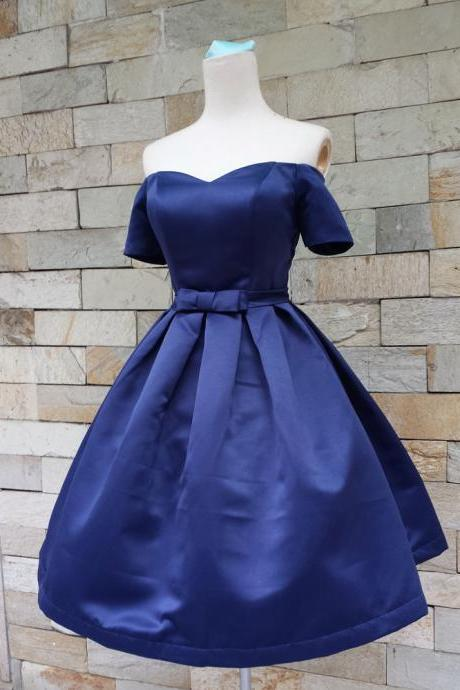 Homecoming dress,navy blue Prom Dress, off the shoulder Graduation dress, Party Dress,satin Homecoming dresses