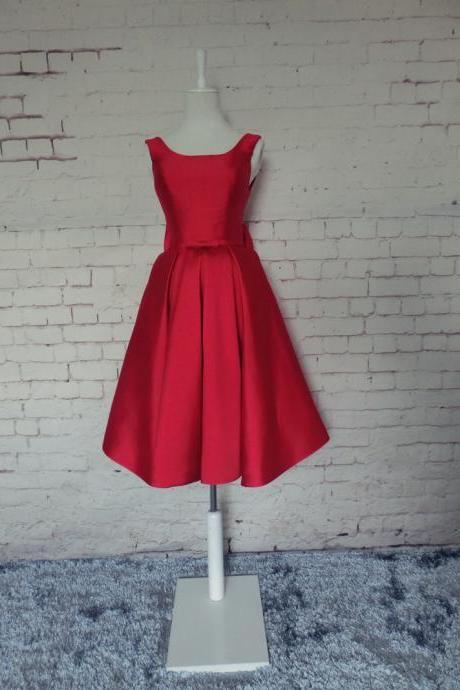 Homecoming dress,red Prom Dress, simple Graduation dress, Party Dress,satin Homecoming dresses,sweet 16 gowns