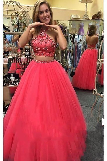 Long prom dresses,2 pieces evening gowns, 2 piece prom gowns,prom gowns,2017 new style fashion prom gowns