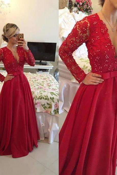 Evening Dress,Long Evening Dresses,Formal Dress,Red Formal Gown,Women Dress,Red Prom Gowns,Lace long sleeves prom gown
