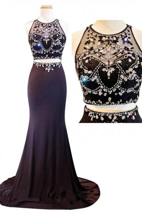 Long prom dresses,2 pieces Prom Dress,New Arrival Sexy Two Piece Evening Dress,2 Pieces Prom Dress,sparkle Prom Dresses