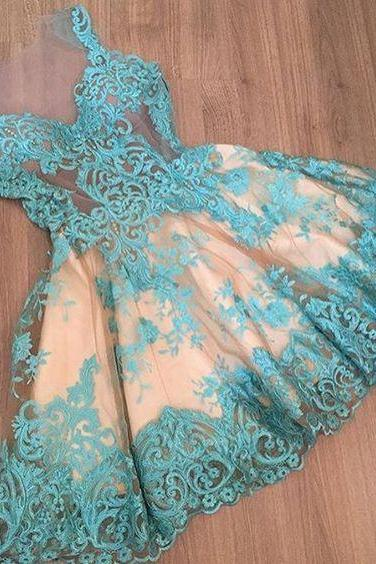 Homecoming Dresses, Charming Prom Dress,Lovely Cute Prom Dress,Sexy Prom Gown,Lace Homecoming Dresses,Blue homecoming gown,prom gowns