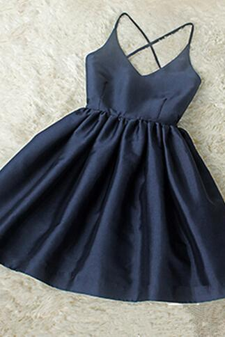 Navy Blue V-neckline Halter Cross Back Women Dresses, Homecoming Dresses, Cute Dresses,Party Dress,Short Prom Dress