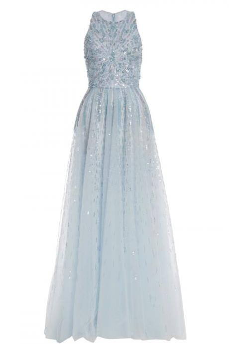 Light Blue Sleeveless Long Tulle Dress with Sequin Embellishment and Crew Neck