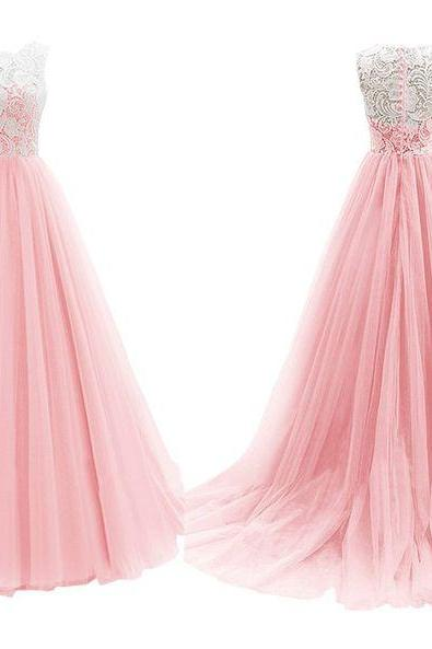 Pink Prom Dress,Lace Prom Dress,Style Prom Gowns,Prom Dress,Long Prom Dress,Formal Evening Party Dress,lace Evening Dress,Evening Dress