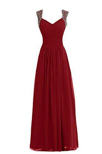 Burgundy Prom Dresses,Chiffon Prom Dress, Long Prom Dresses, Sweetheart Prom Gown,Simple Bridesmaids Dress,New Style Brideamaids Dress,Wedding Party Dress,Formal Women Dress