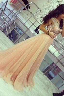 2017 Charming Prom Dress,New Prom Dress,Long Prom Dresses,new style ball gown tulle champagne Prom Dresses