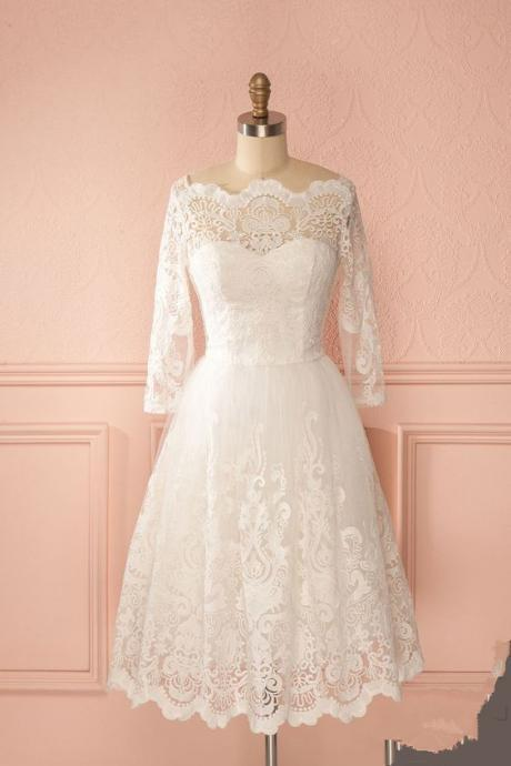 Off-the-shoulder Short Wedding Dress with Illusional Neckline