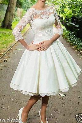 Lace Bateau Neck Long Mesh Sleeves Knee Length Ruffled A-Line Wedding Dress