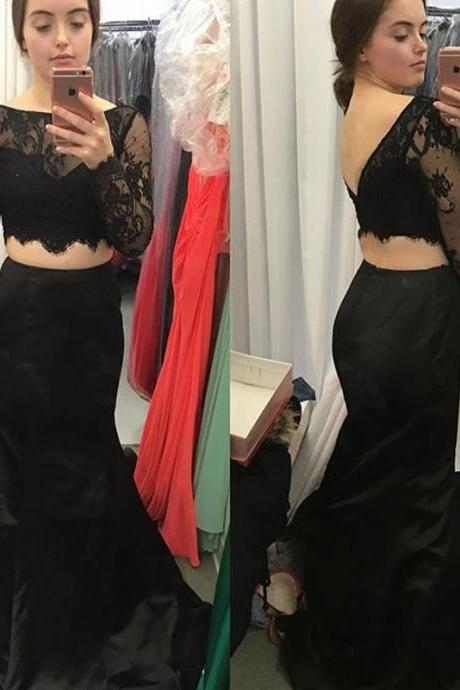 Two Pieces Prom Dress,Two Piece Evening Dress,2017 Prom Gown,2 pieces Party Dress,Lace Prom Dress,Black evening gowns