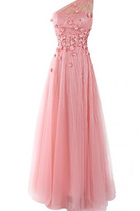 One Shoulder Floor-length Prom Dress with Decorative Handmade Florals in Pink