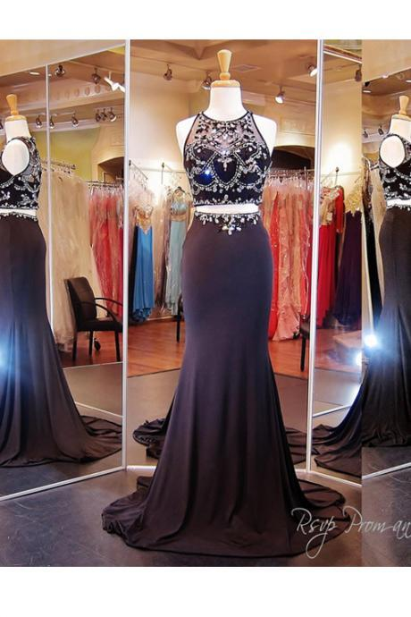 Two Piece Sweep Train Mermaid Prom Dress with Crystal Beaded Embellishment
