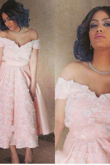 Knee Length Prom dress,Pink Prom Dress,off the shoulder Graduation dress,Party Dress,Lace Homecoming dresses,prom gowns