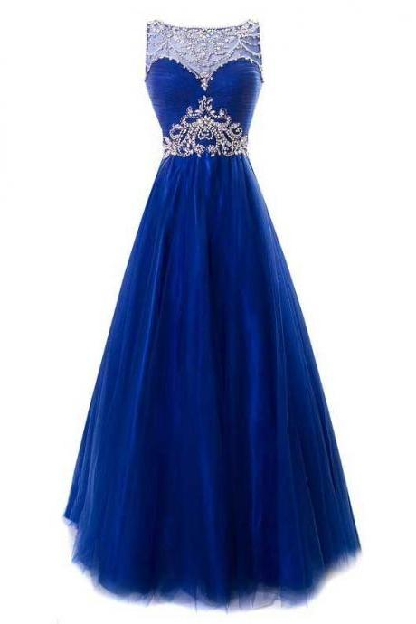Royal Blue Long Prom Gown Featuring High Neck Sweetheart Illusion Crystal Embellished Bodice