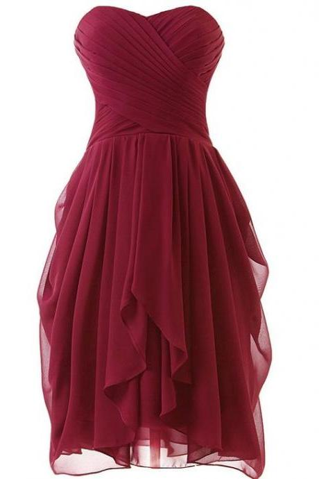 Burgundy Short Ruffle Homecoming Dress Showcasing Ruched Sweetheart Bodice