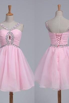 Pink Short Homecoming Dress,Tulle Sweet 16 dresses