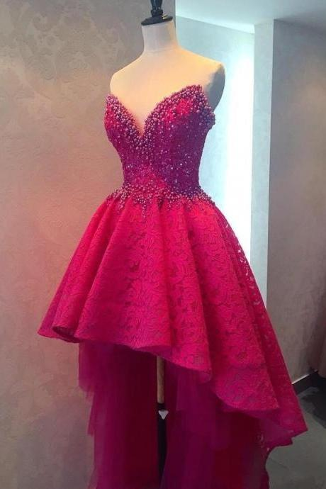 Sexy Prom Dress,high low Prom Dresses,pink Prom Dress, Prom Dresses,Sexy Dress,Charming Prom Dress,Formal Dress,high low Prom Gown For Teens