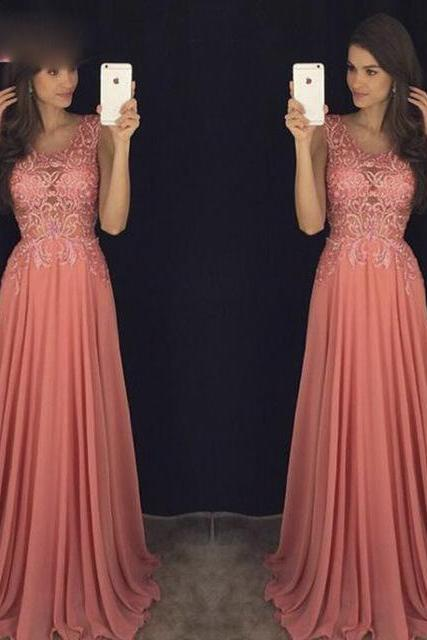 blush pink prom Dresses,Chiffon prom dress,long evening gowns,sparkle prom dress