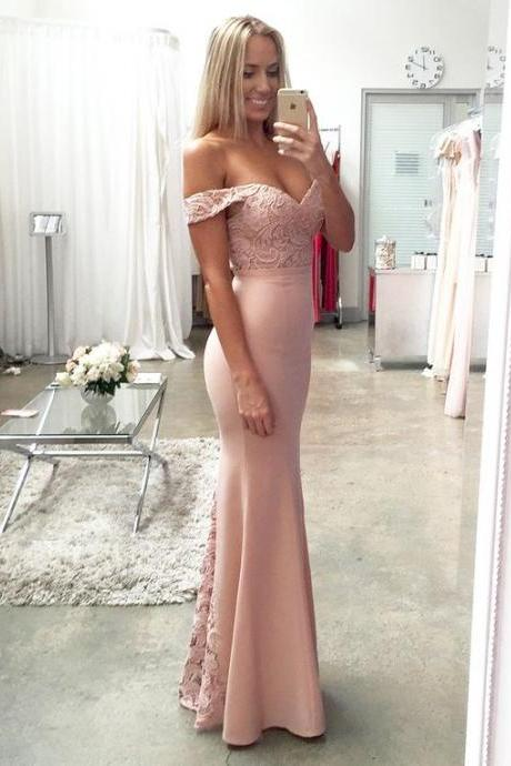 blush pink prom Dresses,lace prom dress,long evening gowns,off the shoulder prom dress