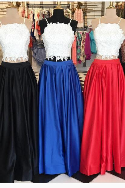 modest Prom Dresses,lace Prom Dresses,Two Piece Prom Dress, Modest Prom Dress, 2 Pieces Prom Dress,Open Back Prom Gown, Prom Dress