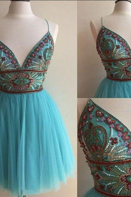 Charming Prom Dress,Sexy Prom Dress,Tulle Short Prom Gown,Sleeveless Beaded Homecoming Dress