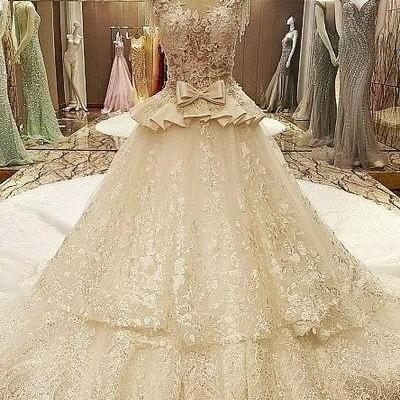 White Ball Gown Vap Beading Sleeves Corset Back Wedding Dress Long Train