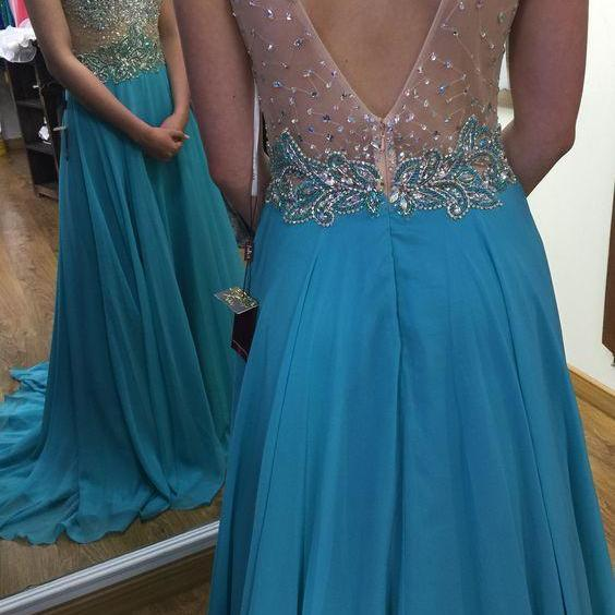Simple Floor-length Bridesmaid/Prom Dresses,Prom Dresses,blue prom gowns,evening gowns