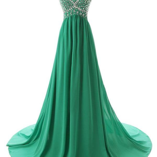 Simple Bridesmaid/Prom Dresses,chiffon Prom Dresses,green prom gowns,evening gowns