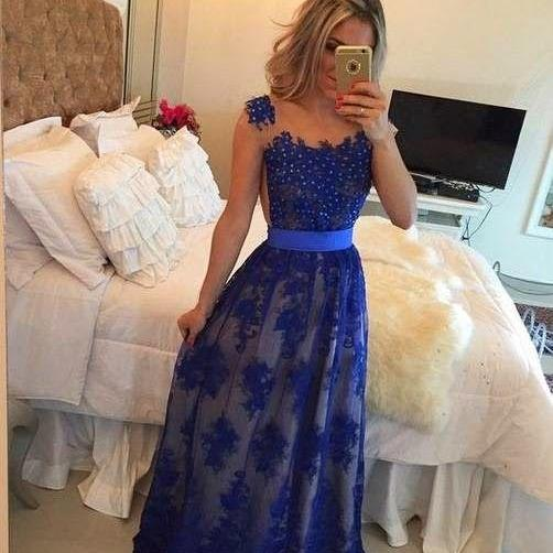 2017 Prom Dresses,Prom Dresses,lace Prom Dresses,Sexy Prom Gowns,Prom Dress,Royal Blue Evening Dress,Formal Dress