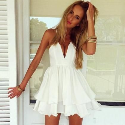 Sexy Short Prom Dress,white Homecoming Party Dress Girls, Graduation Gowns,chiffon cocktail gowns