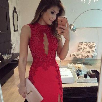 Sexy Short Prom Dress,red Homecoming Party Dress Girls, Graduation Gowns,lace cocktail gowns