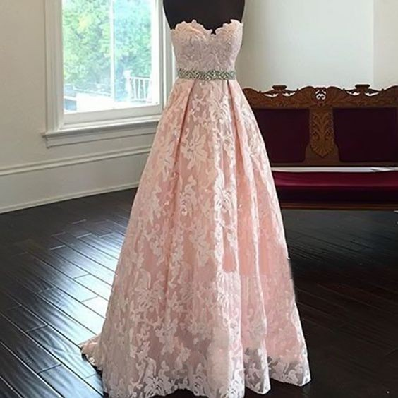 Pink Strapless Sweetheart Lace Long Prom Dress, Evening Dress