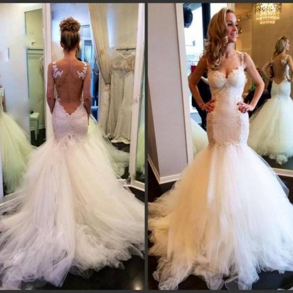 Wedding Dresses,Charming Wedding Dress,mermaid Wedding Dress,Long Wedding Dresses,Formal Wedding Dress,Straps Wedding Gown