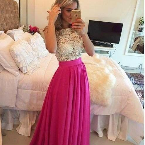 Long prom dresses,pink evening gowns, lace prom gowns,lace prom gowns,2017 new style fashion prom gowns