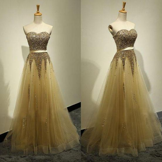 prom dresses,sparkle evening gowns,sparkly prom gowns,gold evening dress,Tulle party gowns
