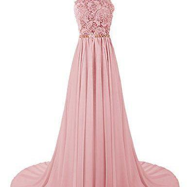 Elegant Prom Dresses,Chiffon Prom Dress, Long Evening Dress ,Romantic Pink Chiffon Long Prom Dresses,Women Dress